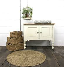 round seagrass rugs plus small cabinets and wicker box for home decoration ideas