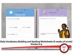 Vocab Building Worksheets Grades 6 9 Daily Vocabulary Building Worksheets 6 Weeks Of Work Set 1