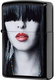 28536 <b>Зажигалка Zippo</b> Woman <b>Red Lips</b>, Ebony