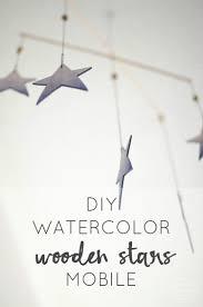 diy watercolor wooden star mobile