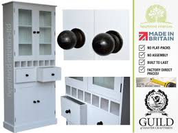 Glazed Kitchen Cupboard Doors Solid Wood Glazed 7ft Kitchen Pantry Cupboard With Wine Storage