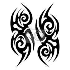 Fototapeta Tribal Tetování Vektorové Návrhy Náčrtu Jednoduché Abstraktní