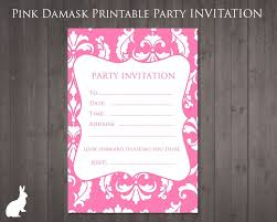 13th Party Invitations Free Party Invitation Pink Damask Printable Birthday
