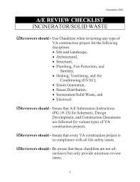 Solid Waste Incinerator Design A E Review Checklist Incinerator Solid Waste