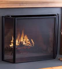 classic tri fold flat guard fire screen black