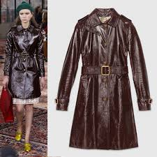 details about 38 new 7749 gucci runway brown patent leather winter trench coat w bee ons