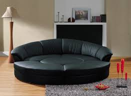 ... Semi Circular Sectional Sofa Black Leather Colored Sofas Small Size  Dark Fluffy Carpet One Brown Lamp ...