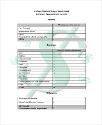 how to budget as a college student student budget templates 9 free pdf format download free