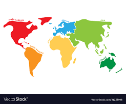 Multicolored World Map Divided To Six Continents