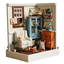 miniature doll furniture. 2016 Miniatura Home Decoration Crafts Diy Doll House Wooden Houses Miniature Dollhouse Furniture Kit Room Led S