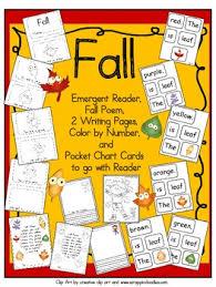 Pocket Chart Poems For Kindergarten Fall Emergent Reader With Pocket Chart Cards And Poem Kindergarten
