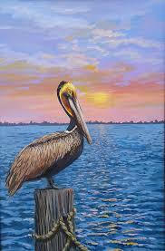 original brown pelican sunrise painting seabird painting wall art beach decor by patmcwhorter