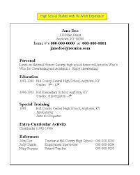 Job Resume High School Student  job resume sample resume for high     Resume Experts