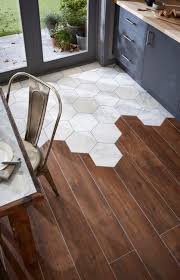 floor transitioning this is an image from a tile called topps tiles the tiles used are hexagonal misty fjord marble and a wood effect porcelain tile