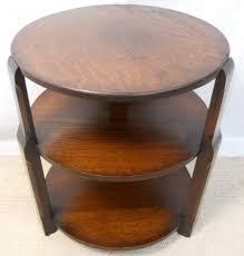 round oak three tier coffee table bookcase