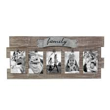 rustic wood collage picture frame with clipetal detail