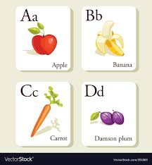 alphabet picture cards alphabet cards royalty free vector image vectorstock
