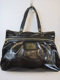 COACH Poppy Daisy Liquid Gloss Black Patent Leather Tote Purse Bag 20004   Coach  TotesShoppers