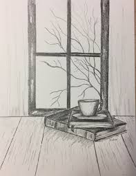 pencil drawing original pencil sketch still life graphite drawing coffee and books fall scene ilration