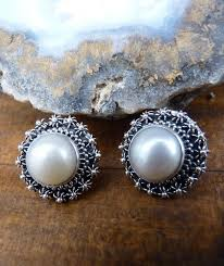 large white pearl stud earrings with filigree silver frames