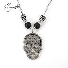 thomas skull mask pendant necklace with black obsidian bead and skull bead european rebel heart