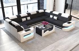 luxury fabric sofa leather fabric mix u shape black mineva 14
