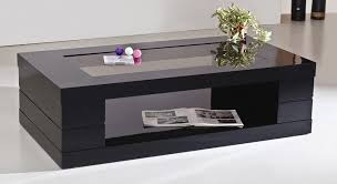 clear lookings polished coffee table black glass finished hardwood high quality materials startling
