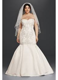 lace and satin plus size mermaid wedding dress david s bridal