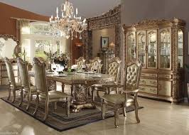 amazing dining table set traditional traditional vendome collection gold patina finish formal dining