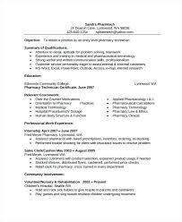 Pharmacists Resume Clinical Pharmacist Curriculum Vitae Staff