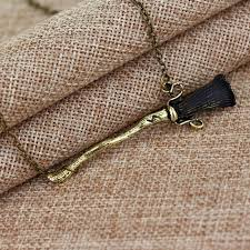 zinc alloy hot harry ly hallows firebolt broom necklace vintage bronze pendant necklace for men