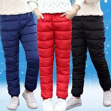 Big Girls Down Pants Casual Solid Color Warm Long Trousers Autumn Winter Children Clothing Cotton Windproof Leggings