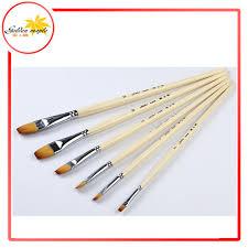 6pcs set flat head brushes art brush color nylon brushes paint brushes for oil painting