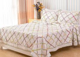 geometric full size quilt 3pcs country style handmade patchwork quilt bedding sets