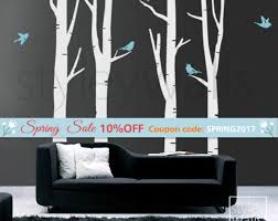 winter trees wall decal birch trees wall decal birds in winter tree wall decal