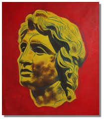 alexander the great in yellow painting on canvas