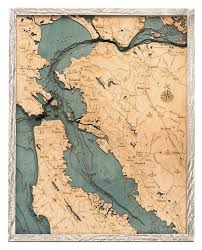 San Fran Depth Chart San Francisco Bay Area Wood Carved Topographic Depth Chart Map