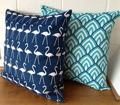 Outdoor Cushion Cover Navy Blue and White Flamingo