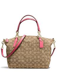 Coach 58283 Outline Signature Small Kelsey Satchel Bag - Khaki + Strawberry  - VixenQue