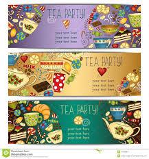 tea party templates banner templates vector collection tea party stock vector