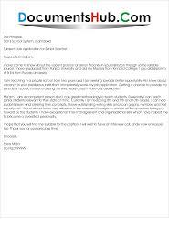 Cover Letter For Senior Teacher