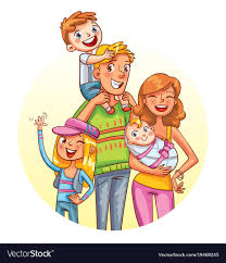 family portrait funny cartoon character vector image