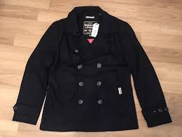 superdry peacoat rrp wool pea trench coat navy with red lining mens dark navy superdry