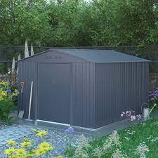 anthracite gray metal shed 9x10 ft x