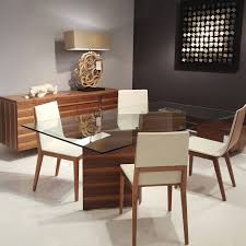 great modern glass top dining table on wood and glass dining table