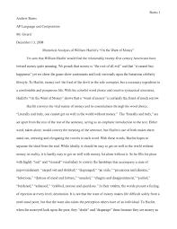 william hazlitt essays essay of the month the fight common reader  rhetorical analysis of william hazlitt s on the want of money by rhetorical analysis of william