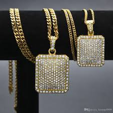 whole hip hop bling crystal iced out jewelry 24k gold plated square dog pendants long cuban chain necklace mens women gifts long necklaces fine