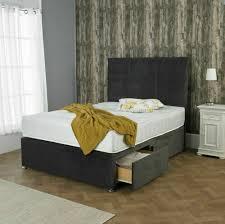 new grey memory foam divan bed set with