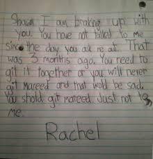 Git It Together Shaun Little Girl S Break Up Letter Funny