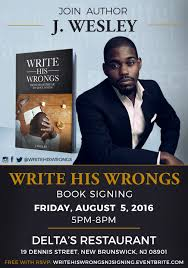 book signing flyer write his wrongs new jersey book signing
